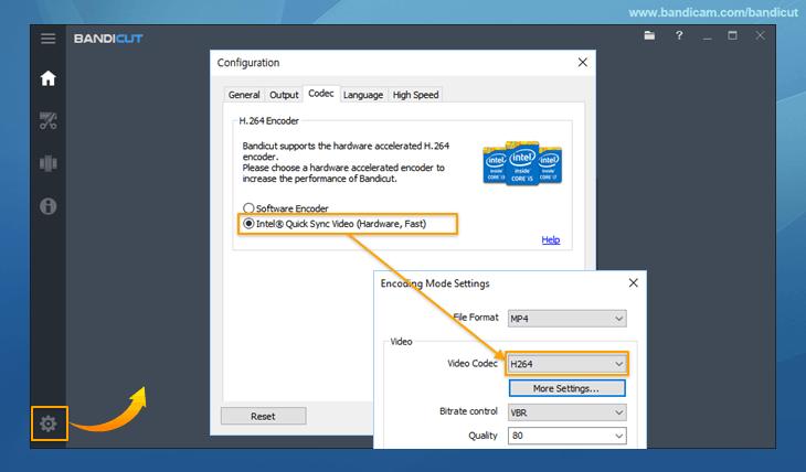 Hardware Acceleration: H 264 encoder (Intel) - Bandicut
