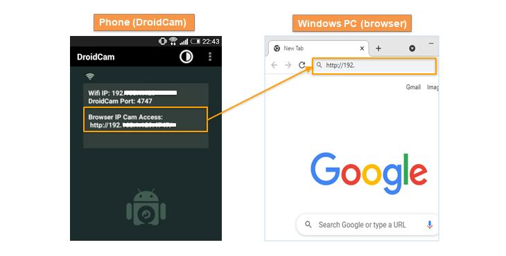 droidcam browser connect