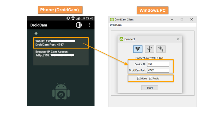 droidcam wi-fi connect