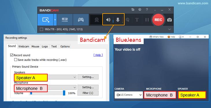 bandicam, bluejeans sound settings