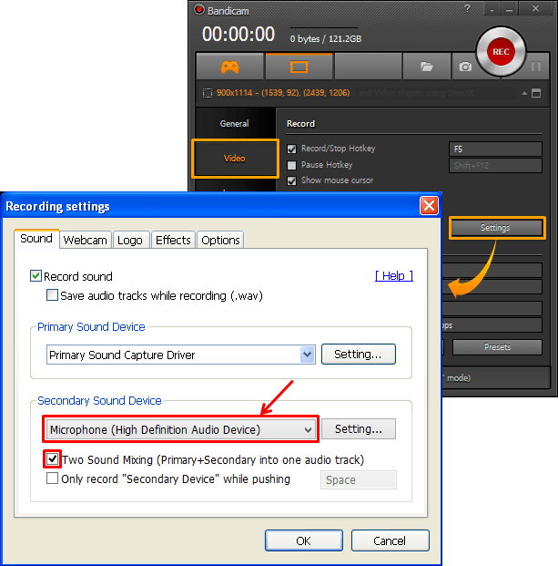 How to record voice from the microphone on PC - Bandicam