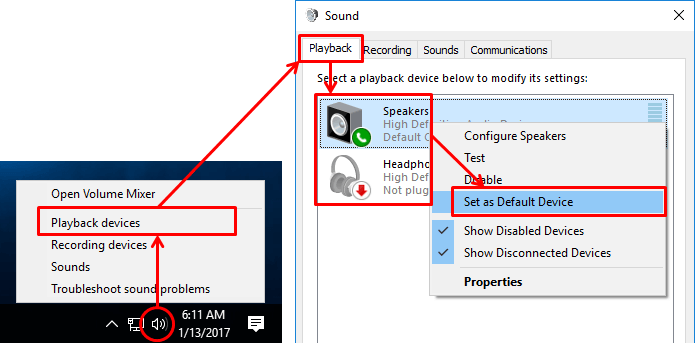 playback devices sound settings speakers
