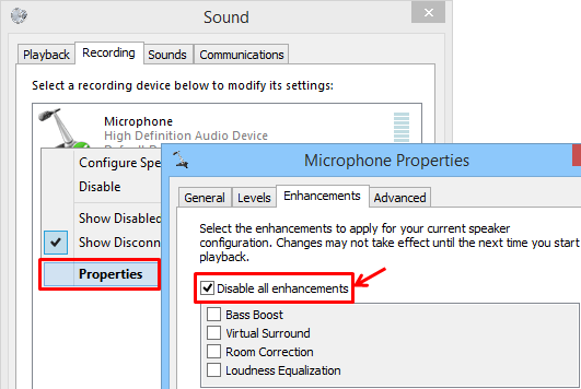 How to remove microphone howling/robot/echo sound/fireworks/noise