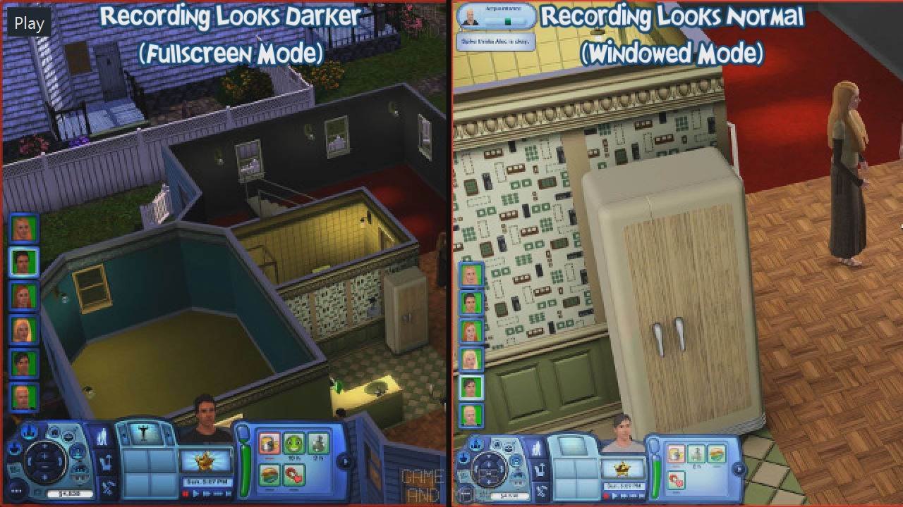 GTAMblog - The Sims 3, Darker Recording Problem - Example comparing darker colours of recording display modes.jpg