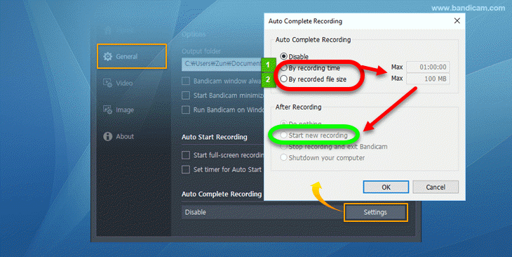 bandicam-auto-complete-recording enable by time or file size.png