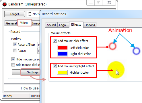 Add mouse click effects