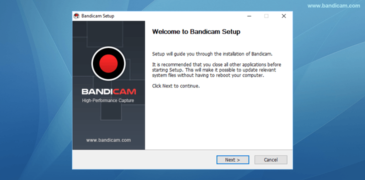 Bandicam setup - Welcome