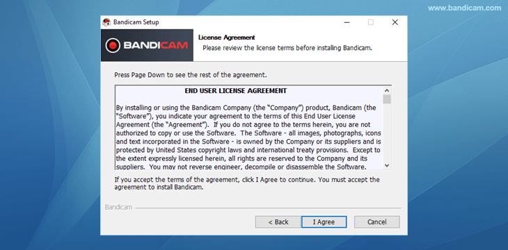 Bandicam setup - License Agreement