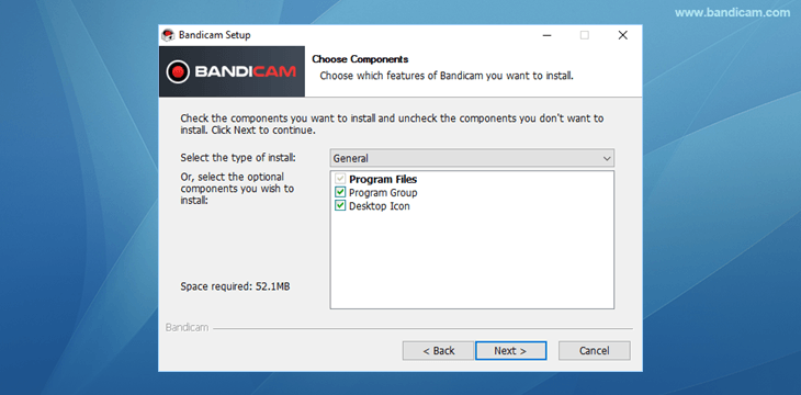 Bandicam setup - Choose Components