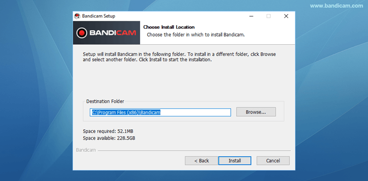 Bandicam setup - Choose installation location